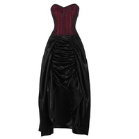 Burgundy and black corset dress