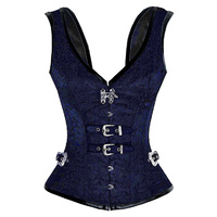 Blue Brocade V neck Steampunk Corset