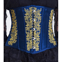 Royal Blue Embroidered Underbust Corset