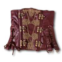Burgundy Faux Leather Underbust Corset