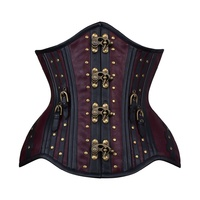 Faux Leather Underbust Corset with Rivets