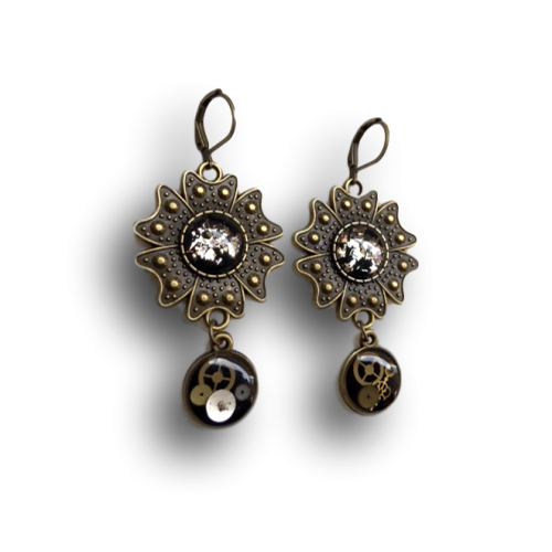 Flower Steampunk Earrings