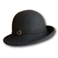 Grey Ladies Angled Bowler Hat