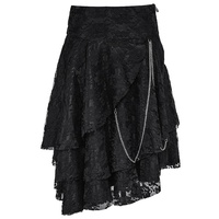 Gothic Black Lace Overlay Skirt