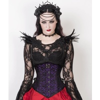 Gothic Purple Corset with Skull Busk Opening