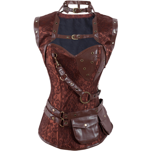 Steampunk High Neck Acrylic Corset with Jacket